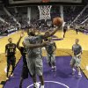 Photo - Kansas State's Thomas Gipson (42) puts up a shot during the second half of an NCAA college basketball game against Long Beach State, Sunday, Nov. 17, 2013, in Manhattan, Kan. Kansas State won 71-58. (AP Photo/Charlie Riedel)