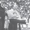 OSU head coach Pat Jones reacts after the Cowboys\' defense blocks an extra point by OU\'s R.D. Lashar in the third quarter of the Bedlam college football game, Saturday, Nov. 7, 1987. Staff Photo by Jim Argo