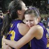 Anadarko\'s Lakota Beatty (23) and Kylie Parker (12) celebrate the win over Ft. Gibson during the 4A girls State Basketball Championship game between Ft. Gibson High School and Anadarko High School at State Fair Arena on Saturday, March 10, 2012 in Oklahoma City, Okla. Photo by Chris Landsberger, The Oklahoman