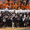 OKLAHOMA STATE UNIVERSITY: The OSU team gathers before warming up for their college football game against the University of Colorado (CU) at Boone Pickens Stadium in Stillwater, Okla., Thursday, Nov. 19, 2009. Photo by Bryan Terry, The Oklahoman ORG XMIT: KOD