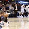 Oklahoma City\'s Russell Westbrook sits on the floor after a play during the NBA basketball game between the Oklahoma City Thunder and the Portland Trail Blazers at the Ford Center in Oklahoma City, Friday, April 3, 2009. Photo by Bryan Terry, The Oklahoman ORG XMIT: KOD