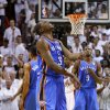 Oklahoma City\'s Kevin Durant reacts after missing a shot in the final seconds during Game 4 of the NBA Finals between the Oklahoma City Thunder and the Miami Heat at American Airlines Arena, Tuesday, June 19, 2012. Oklahoma City lost 104-98. Photo by Bryan Terry, The Oklahoman