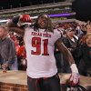 Texas Tech\'s Kerry Hyder (91) celebrates after the 41-38 win over Oklahoma during the college football game between the University of Oklahoma Sooners (OU) and Texas Tech University Red Raiders (TTU) at the Gaylord Family-Oklahoma Memorial Stadium on Sunday, Oct. 23, 2011. in Norman, Okla. Photo by Chris Landsberger, The Oklahoman