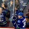 Vancouver Canucks\' Mason Raymond celebrates his goal against the Los Angeles Kings during the second period of during the first period of an NHL hockey game in Vancouver, British Columbia on Saturday, March 2, 2013. (AP Photo/The Canadian Press, Darryl Dyck)