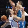 Oklahoma City Thunder\'s Nick Collison (4) defends on New Orleans Hornets\' Greivis Vasquez (21) during the NBA basketball game between the Oklahoma CIty Thunder and the New Orleans Hornets at the Chesapeake Energy Arena on Wednesday, Dec. 12, 2012, in Oklahoma City, Okla. Photo by Chris Landsberger, The Oklahoman