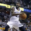 Memphis Grizzlies guard O. J. Mayo drives against the Oklahoma City Thunder during the first half of Game 4 of a second-round NBA basketball playoff series on Monday, May 9, 2011, in Memphis, Tenn. (AP Photo/Wade Payne)