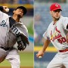 This combination made from file photos shows Seattle Mariners starting pitcher Felix Hernandez, left, and St. Louis Cardinals starting pitcher Adam Wainwright. Hernandez will start Tuesday night\'s All-Star game for the American League and Wainwright will open for the National League. (AP Photo)