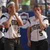 Broken Arrow\'s Elena Gambill (2) and Caitlin Paolini (5) react after the loss to Tulsa Union in the Class 6A Oklahoma State High School Slow Pitch Softball Championship at ASA Hall of Fame Stadium in Oklahoma City, Wednesday, May 1, 2013. Photo by Chris Landsberger, The Oklahoman