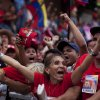 Supporters of Venezuela\'s President Hugo Chavez cheer during a campaign rally in Maracay, Venezuela, Wednesday, Oct. 3, 2012. Chavez is running for re-election against opposition candidate Henrique Capriles in presidential elections on Oct . 7. (AP Photo/Rodrigo Abd)