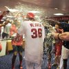 CORRECTS SPELLING OF BEER - Los Angeles Angels starting pitcher Jered Weaver is doused with beer by teammates after pitching a a no-hitter in their baseball game against the Minnesota Twins, Wednesday, May 2, 2012, in Anaheim, Calif. The Angels won 9-0. (AP Photo/Mark J. Terrill)