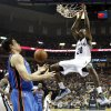 Oklahoma City\'s Nick Collison (4) watches as Memphis\' Quincy Pondexter (20) dunks during Game 3 in the second round of the NBA basketball playoffs between the Oklahoma City Thunder and Memphis Grizzles at the FedExForum in Memphis, Tenn., Saturday, May 11, 2013. Memphis won, 87-81. Photo by Nate Billings, The Oklahoman
