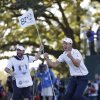 Europe\'s Martin Kaymer celebrates after winning the Ryder Cup PGA golf tournament Sunday, Sept. 30, 2012, at the Medinah Country Club in Medinah, Ill. (AP Photo/David J. Phillip) ORG XMIT: PGA203