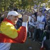 Europe\'s Sergio Garcia celebrates after winning the Ryder Cup PGA golf tournament Sunday, Sept. 30, 2012, at the Medinah Country Club in Medinah, Ill. (AP Photo/Chris Carlson) ORG XMIT: PGA211