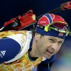 Photo - Norway's Ole Einar Bjoerndalen skis during the men's biathlon 4x7.5K relay at the 2014 Winter Olympics, Saturday, Feb. 22, 2014, in Krasnaya Polyana, Russia. (AP Photo/Lee Jin-man)