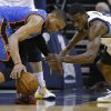 Oklahoma City\'s Russell Westbrook (0) reaches for a loose ball beside Memphis\' Tony Allen (9) during Game 6 in the first round of the NBA playoffs between the Oklahoma City Thunder and the Memphis Grizzlies at FedExForum in Memphis, Tenn., Thursday, May 1, 2014. Oklahoma City won 104-84. Photo by Bryan Terry, The Oklahoman