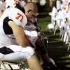OSU\'s Trent Perkins sits on the bench in the second half during the college football game between the Troy University Trojans and the Oklahoma State University Cowboys at Movie Gallery Veterans Stadium in Troy, Ala., Friday, September 14, 2007. BY MATT STRASEN, THE OKLAHOMAN