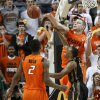 Oklahoma State\'s Philip Jurick (44) blocks the shot of Missouri\'s Matt Pressey (3) as Le\'Bryan Nash (2) watches during an NCAA college basketball game between the Oklahoma State University Cowboys (OSU) and the Missouri Tigers (MU) at Gallagher-Iba Arena in Stillwater, Okla., Wednesday, Jan. 25, 2012. Photo by Bryan Terry, The Oklahoman