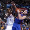 Oklahoma City\'s Serge Ibaka (9) fights for the ball with New York\'s Mike Bibby (20) during the NBA game between the Oklahoma City Thunder and the New York Knicks at Chesapeake Energy Arena in Oklahoma CIty, Saturday, Jan. 14, 2012. Photo by Bryan Terry, The Oklahoman