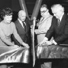Cutting ribbon to open Crossroads Mall on Feb. 13, 1974, are, from left, Oklahoma City Mayor Patience Latting, Bruce A. Jacobi, president of N.K. Winston-Oklahoma Corp., A.J. Kavanaugh, co-owner of the center, and Gov. David Hall. Oklahoman Archive Photo