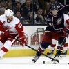 Photo - Columbus Blue Jackets' Ryan Johansen, right, works for the puck against Detroit Red Wings' Johan Franzen, of Sweden,  in the second period of an NHL hockey game in Columbus, Ohio, Tuesday, March 11, 2014. (AP Photo/Paul Vernon)