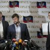 Co-chairman of the Presidium of the People\'s Republic of Donetsk Boris Litvinov, left, Insurgent leader head of the elections commission of the so-called Donetsk People\'s Republic Denis Pushilin, and vote-counter Roman Lyagin, right, show documents with the results of Sunday\'s referendum to journalists at a news conference in Donetsk, Ukraine, Monday, May 12, 2014. The referendum balloting Sunday in the Donetsk and Luhansk regions, which together have 6.5 million people, was condemned as a sham and a violation of international law by Kiev's interim government and other western powers. (AP Photo/Alexander Zemlianichenko)