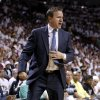 Oklahoma City coach Scott Brooks reacts during Game 4 of the NBA Finals between the Oklahoma City Thunder and the Miami Heat at American Airlines Arena, Tuesday, June 19, 2012. Photo by Bryan Terry, The Oklahoman