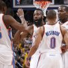 Oklahoma City\'s James Harden (13), Kevin Durant (35), Russell Westbrook (0), and Kendrick Perkins (5) celerbate during the NBA game between the Oklahoma City Thunder and the New York Knicks at Chesapeake Energy Arena in Oklahoma CIty, Saturday, Jan. 14, 2012. Photo by Bryan Terry, The Oklahoman