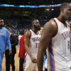 Oklahoma City\'s Kendrick Perkins (5), James Harden (13) and Nazr Mohammed (8) walk of the court following Game 2 of the NBA Finals between the Oklahoma City Thunder and the Miami Heat at Chesapeake Energy Arena in Oklahoma City, Thursday, June 14, 2012. Photo by Sarah Phipps, The Oklahoman