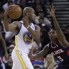 Golden State Warriors\' Jarrett Jack, left, looks to pass from Atlanta Hawks\' Louis Williams during the first half of an NBA basketball game Wednesday, Nov. 14, 2012, in Oakland, Calif. (AP Photo/Ben Margot)