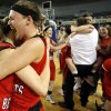 Erick\'s Emily Carpenter, right, hugs Makenzie Kelly after winning Class B girls state championship over Lomega at the State Fair Arena., Saturday, March 2, 2013. Photo by Sarah Phipps, The Oklahoman