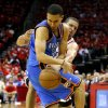 Oklahoma City\'s Kevin Martin tries to get past Houston\'s Francisco Garcia during Game 4 in the first round of the NBA playoffs between the Oklahoma City Thunder and the Houston Rockets at the Toyota Center in Houston, Texas, Monday, April 29, 2013. Photo by Bryan Terry, The Oklahoman