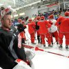Detroit Red Wings goalie Jimmy Howard takes a breather between drills during the NHL hockey team\'s training camp Sunday, Jan. 13, 2013, in Plymouth, Mich. (AP Photo/The Detroit News, David Guralnick) DETROIT FREE PRESS OUT HUFFINGTON POST OUT MAGS OUT