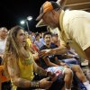 An usher warns UC Irvine super fan Keith Franklin about getting out of his seat during Game 1 of the NCAA baseball Stillwater Super Regional between Oklahoma State and UC Irvine at Allie P. Reynolds Stadium in Stillwater, Okla., Friday, June 6, 2014. Photo by Nate Billings, The Oklahoman