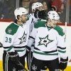 Dallas Stars\' Ryan Garbutt, right, celebrates his goal with teammate Travis Morin during second-period NHL hockey game action agaisnt the Calgary Flames in Calgary, Alberta, Thursday, Nov. 14, 2013. (AP Photo/The Canadian Press, Jeff McIntosh)