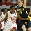 Oklahoma\'s Sharane Campbell (24) tries to get past Michigan\'s Kate Thompson (12) during a first round game of the NCAA women\'s basketball tournament between the University of Oklahoma Sooners and the Michigan Wolverines at Lloyd Noble Center in Norman, Okla., Sunday, March 18, 2012. Photo by Bryan Terry, The Oklahoman