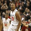 Photo - Texas Tech's Toddrick Gotcher celebrates in the early moments of their NCAA college basketball game against Oklahoma State in Lubbock, Texas, Saturday, Feb, 8, 2014. (AP Photo/Lubbock Avalanche-Journal, Tori Eichberger) ALL LOCAL TV OUT