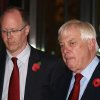 The BBC Director General, George Entwistle, left, stands with the Chairman of the BBC Trust, Lord Chris Patten, as he announces his resignation as Director General outside New Broadcasting House in central London, after recent news program problems, Saturday Nov. 10, 2012. The BBC\'s director general had said earlier Saturday that it should not have aired a report that wrongly implicated a politician in a child sex-abuse scandal, admitting that the program further damaged trust in a broadcaster already reeling from the fallout over its decision not to air similar allegations against one of its star hosts. George Entwistle\'s comments followed an embarrassing retreat for the BBC, which apologized Friday for its Nov. 2