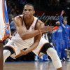 Oklahoma City\'s Russell Westbrook (0) reacts after hitting a shot at the end of the third quarter during the NBA basketball game between the Detroit Pistons and Oklahoma City Thunder at the Chesapeake Energy Arena in Oklahoma City, Monday, Jan. 23, 2012. Oklahoma City won, 99-79. Photo by Nate Billings, The Oklahoman