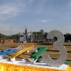 Photo - Workers set up a stage as preparations are underway for the country's first ever public New Year's countdown celebration, at Myoma grounds in Yangon, Myanmar, Monday, Dec. 31, 2012. (AP Photo/Khin Maung Win)