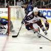 Columbus Blue Jackets center Brandon Dubinsky (17) and Colorado Avalanche center Paul Stastny (26) go after the puck during the third period of an NHL hockey game on Thursday, Jan. 24, 2013, in Denver. (AP Photo/Jack Dempsey)