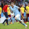 Photo - Malmo's Markus Rosenberg celebates scoring against Sparta Praha during the Champions League third qualifying round second leg soccer match at the Swedbank stadium in Malmo, Sweden, Wednesday Aug. 6, 2014. (AP Photo/Andreas Hillergren, TT) SWEDEN OUT
