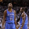 Oklahoma City\'s Kevin Durant (35) reacts beside Serge Ibaka (9) during Game 4 of the NBA Finals between the Oklahoma City Thunder and the Miami Heat at American Airlines Arena, Tuesday, June 19, 2012. Oklahoma City lost 104-98. Photo by Bryan Terry, The Oklahoman