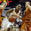 Oklahoma Sooners\' Sharane Campbell (24) drives past Texas Longhorn\'s Chassidy Fussell (24) as the University of Oklahoma Sooners (OU) play the University of Texas (UT) Longhorns in NCAA, women\'s college basketball at The Lloyd Noble Center on Saturday, Jan. 19, 2013 in Norman, Okla. Photo by Steve Sisney, The Oklahoman