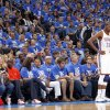 Oklahoma City \'s Kevin Durant (35) stands in front of the crowd during Game 1 of the NBA Finals between the Oklahoma City Thunder and the Miami Heat at Chesapeake Energy Arena in Oklahoma City, Tuesday, June 12, 2012. Photo by Chris Landsberger, The Oklahoman