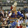 Native American dancer and Edmond Santa Fe tenth grader Kiana Factor performs a dance in a
