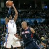 Oklahoma City\'s Russell Westbrook puts a shot over Atlanta\'s Maurice Evans during their NBA basketball game at the OKC Arena in Oklahoma City on Friday, Dec. 31, 2010. Photo by John Clanton, The Oklahoman