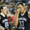 Perkins-Tryon\'s Jordan Gorham (33) and McKenzie Standford (20) react after loosing the 3A girls state high school basketball championship to Sulphur at the State Fair Arena in Oklahoma City, Saturday, March 9, 2013. Photo by Sarah Phipps, The Oklahoman