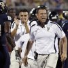 Florida International coach Mario Cristobal yells after an FIU touchdown against Arkansas State in the second quarter of an NCAA college football game at FIU Stadium in Miami, Thursday, Oct. 4, 2012. (AP Photo/The Miami Herald, Charles Trainor Jr.) MAGAZINES OUT