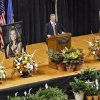 Oklahoma State athletic director Mike Holder speaks during the memorial service for Oklahoma State head basketball coach Kurt Budke and assistant coach Miranda Serna at Gallagher-Iba Arena on Monday, Nov. 21, 2011 in Stillwater, Okla. The two were killed in a plane crash along with former state senator Olin Branstetter and his wife Paula while on a recruiting trip in central Arkansas last Thursday. Photo by Chris Landsberger, The Oklahoman