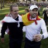 Europe\'s Sergio Garcia, right, and Luke Donald celebrates after winning the Ryder Cup PGA golf tournament Sunday, Sept. 30, 2012, at the Medinah Country Club in Medinah, Ill. (AP Photo/David J. Phillip) ORG XMIT: PGA216